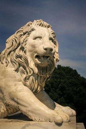 age-old white marble greek mythological lion sculpture in front of Vorontsov palace in Crimea