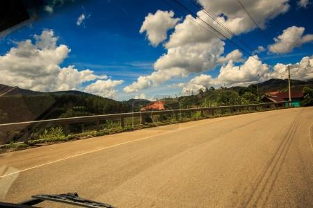 sunny asphalt road vanishes into space along tropical plants and fields against cloudy blue sky