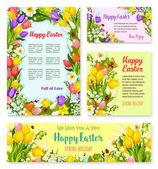 Šablona nápisu velikonoční sada s vajíčkem a květina