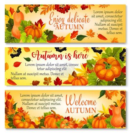 Autumn banner with pumpkin, fallen leaves, berry