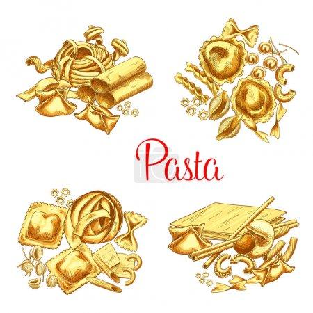Italian pasta vector icons set for restaurant