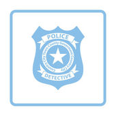 Police badge icon Blue frame design Vector illustration