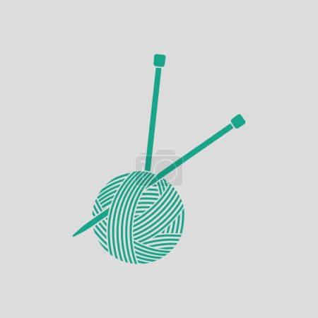 Yarn ball with knitting needles icon