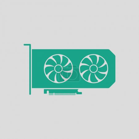 GPU icon. Gray background with green. Vector illus...