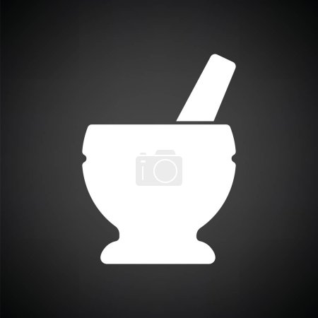 Illustration for Mortar and pestle icon. Black background with white. Vector illustration. - Royalty Free Image
