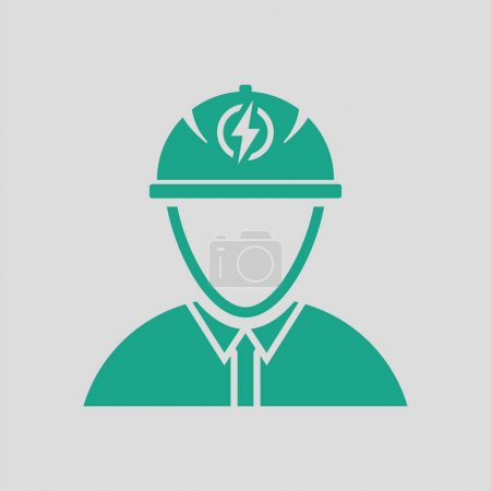 Illustration for Electric engineer icon. Gray background with green. Vector illustration. - Royalty Free Image