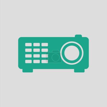 Illustration pour Icône du vidéoprojecteur. Fond gris avec vert. Illustration vectorielle . - image libre de droit