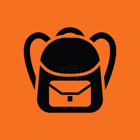 Illustration for School rucksack  icon. Orange background with black. Vector illustration. - Royalty Free Image