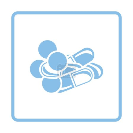 Illustration for Pill and tabs icon. Blue frame design. Vector illustration. - Royalty Free Image