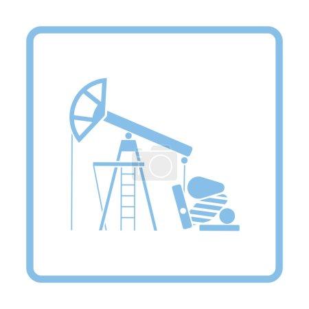 Oil pump icon. Blue frame design. Vector illustrat...