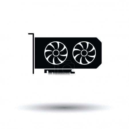 GPU icon. Black background with white. Vector illu...