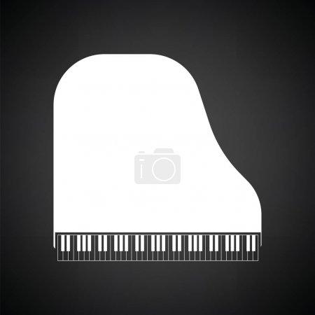 Illustration pour Icône de piano à queue. Fond noir avec du blanc. Illustration vectorielle. - image libre de droit