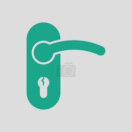 Illustration for Door handle icon. Gray background with green. Vector illustration. - Royalty Free Image