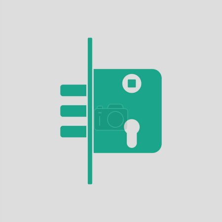 Illustration for Door lock icon. Gray background with green. Vector illustration. - Royalty Free Image