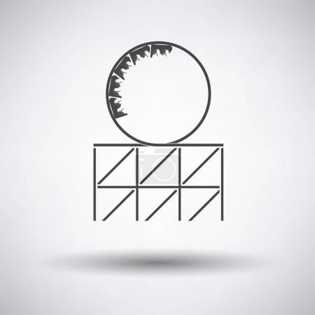 Illustration for Roller coaster loop icon on gray background, round shadow. Vector illustration. - Royalty Free Image