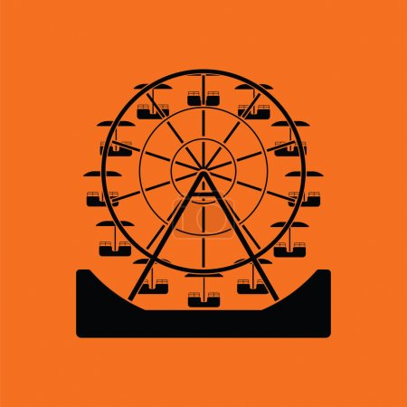 Illustration for Ferris wheel icon. Orange background with black. Vector illustration. - Royalty Free Image