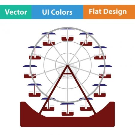 Illustration for Ferris wheel icon. Flat design. Vector illustration. - Royalty Free Image