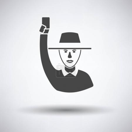 Cricket umpire with hand holding card icon