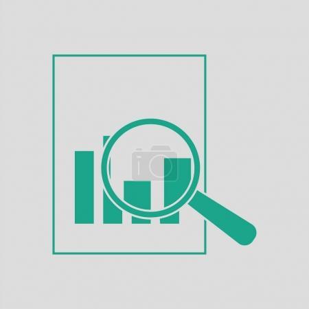 Illustration pour Magnifique verre sur papier avec icône graphique. Fond gris avec vert. Illustration vectorielle . - image libre de droit