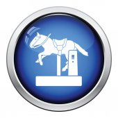 Horse machine icon Glossy button design Vector illustration