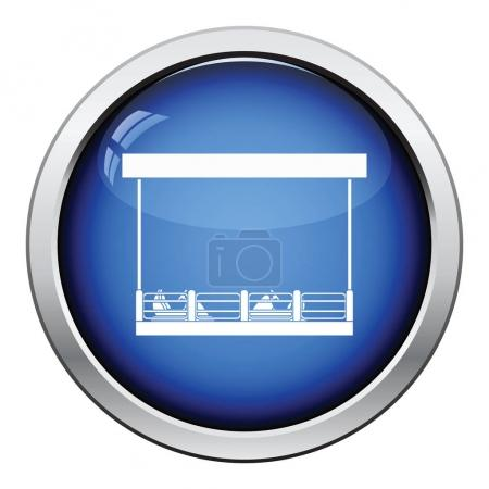 Illustration for Bumper cars icon. Glossy button design. Vector illustration. - Royalty Free Image