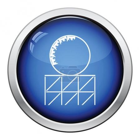 Illustration for Roller coaster loop icon. Glossy button design. Vector illustration. - Royalty Free Image