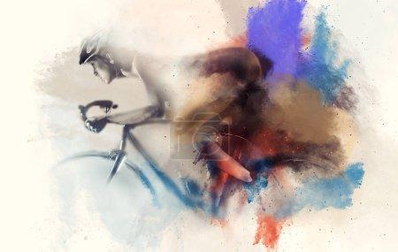 Photo pour Femme sur un vélo combiné avec une aquarelle abstraite. Art numérique - image libre de droit
