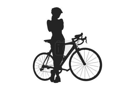 Photo pour Silhouette de femme avec un vélo, isolé sur fond blanc - image libre de droit