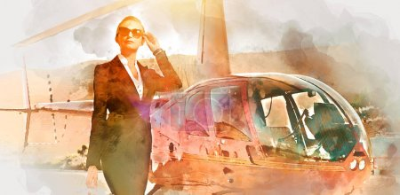 Business woman near the helicopter. Digital watercolor painting