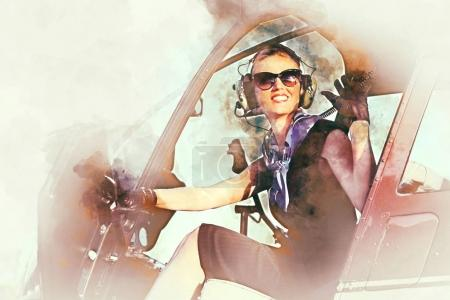 Woman pilot sitting in the helicopter. Digital art