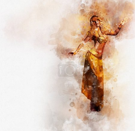 Photo for Beautiful blonde belly dancer woman. Digital watercolor painting. Digital art. - Royalty Free Image