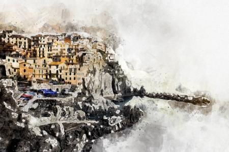 Photo pour Aquarelle numérique de Manarola. Manarola est un petit village côtier de la région italienne de Ligurie, Cinque Terre. Province de La Spezia. Italie - image libre de droit