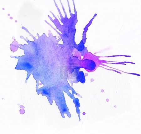Photo for Colorful watercolor splashes over white background. Blue and violet colors - Royalty Free Image