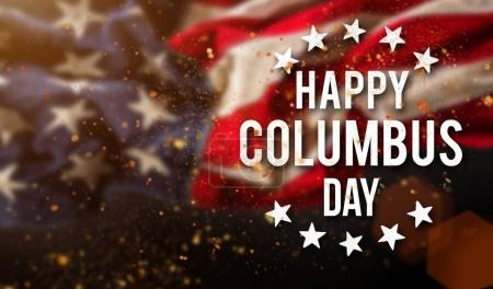 Happy Columbus day banner, patriotic background