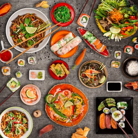 Photo for Various of asian meals on rustic background , top view , place for text. Asian food concept. - Royalty Free Image