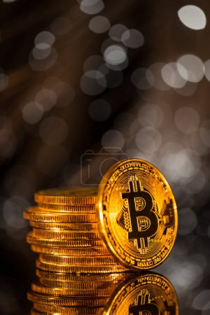 Photo for Bitcoin gold coin with defocused abstract background. Virtual cryptocurrency concept. - Royalty Free Image