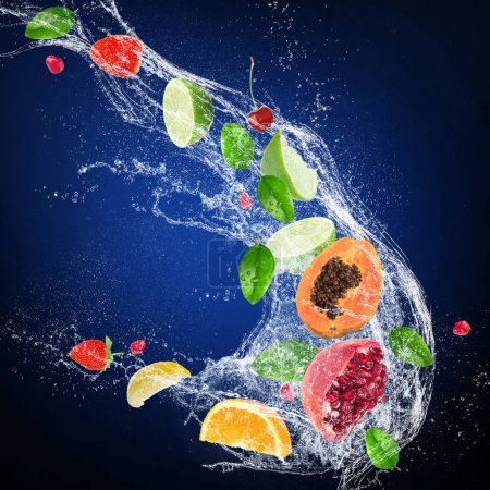 Photo for Fresh citruses with water splash isolated on dark background - Royalty Free Image