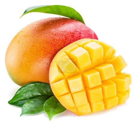 Mango cubes and mango fruit. Isolated on a white b...