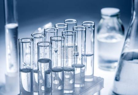 Different laboratory beakers and glassware.
