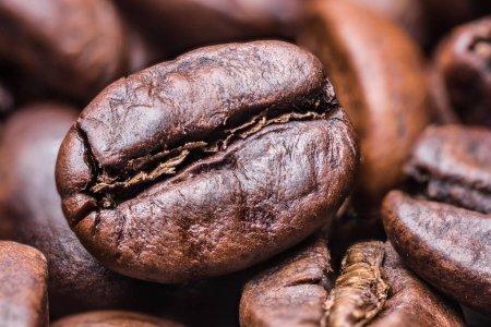 Roasted coffee beans. Macro shot.