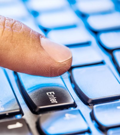 Using keyboard. Closeup view of  keyboard.
