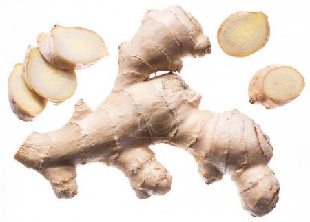 Photo for Fresh ginger rhizome or ginger root. Isolated on white background. - Royalty Free Image