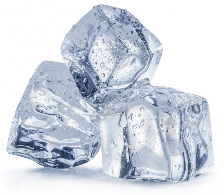 Melting ice cubes with water drops. Clipping path.