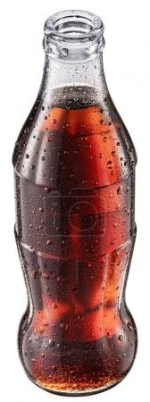 Opened bottle of cola or botlle of cola soda with water drops.