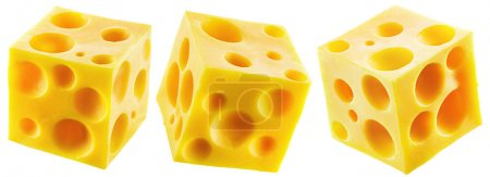 Set of three holey cheese cubes.