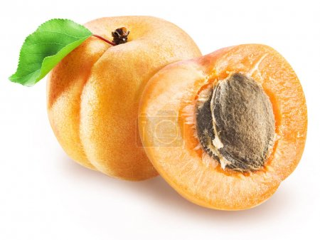 Ripe apricot and apricot cross section. Clipping paths.