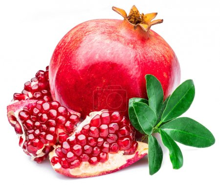 Ripe pomegranate fruits on the white background.
