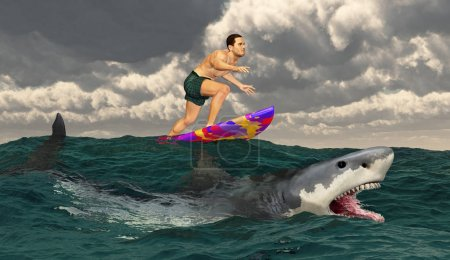 Photo for Sportsman on a surfboard and great white shark - Royalty Free Image
