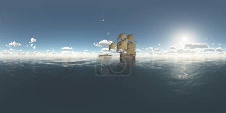 Photo pour Panorama sans soudure sphérique 360 degrés avec l'île et Caravelle portugaise du XVe siècle - image libre de droit