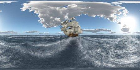 Photo pour Sphérique 360 degrés panoramique transparente avec le Hms Victory, dans la mer orageuse - image libre de droit